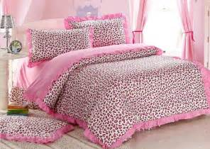 sexy pink leopard print 4 piece bedding sets duvet cover