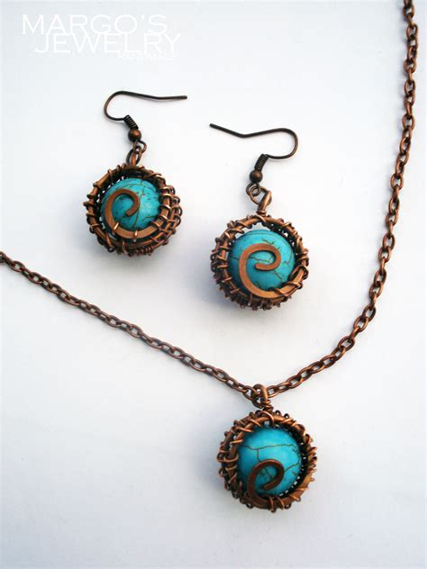 What Is Wire Wrapping In Jewelry Making - handmade set copper wire tiurkoaz wrapped 2