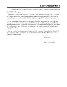 Cover Letter Warehouse by Leading Professional Warehouse Associate Cover Letter Exles Resources Myperfectcoverletter