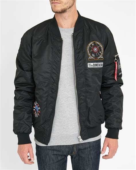 Mens Patch Bomber Eleven Patch Detail Satin Bomber Jacket In Black For
