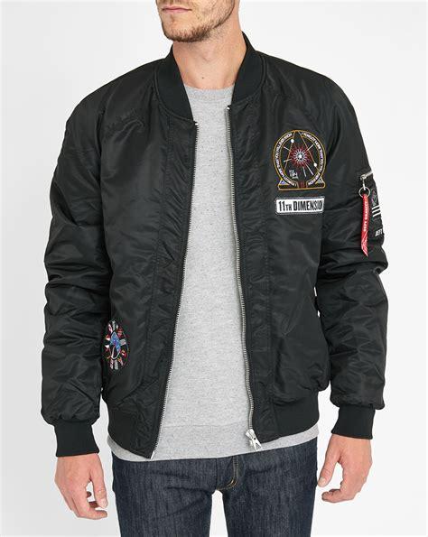 Jacket Bomber Patch Black Jaket Wanita eleven patch detail satin bomber jacket in black for lyst