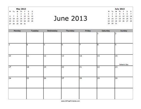 Calendar June 2013 June 2013 Calendar Free Printable Myfreeprintable