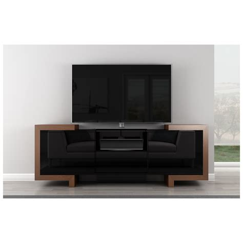 Dynamic Home Decor Furnitech Ft75fa 75 Quot Tv Stand Contemporary Media Cabinet In High Gloss Black Lacquer Oak