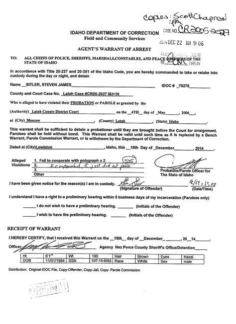 Warrant Of Arrest Search Steven Sitler Warrant Of Arrest Steven Sitler Archive