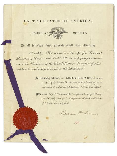 15th amendment section 2 lot detail william h seward signed resolution bringing