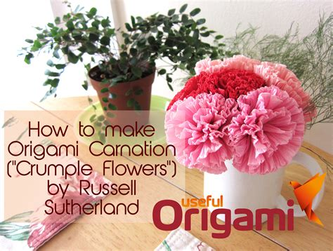 Origami Carnation Flower - how to make tissue paper flowers origami carnations