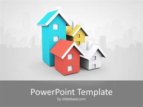 house powerpoint template 3d house real estate powerpoint template slidesbase
