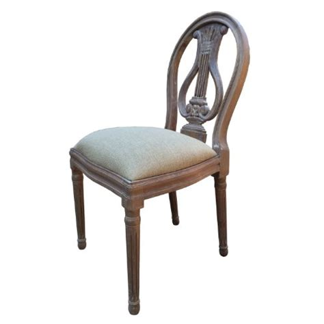 french style shabby chic dining chair ash finish upholstery natural linen fabric full range matching furniture
