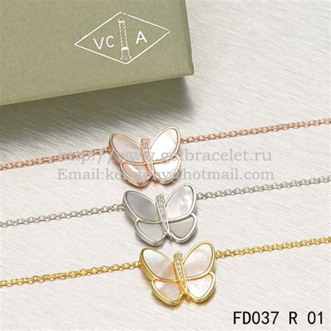 Kn69842 Kalung Choker Flying Pearl Pink cleef arpels flying butterfly pendant necklace pink gold with white of pearl diamonds