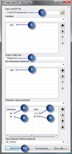 arcgis netcdf tutorial exercise 2 creating a temperature table at a specific
