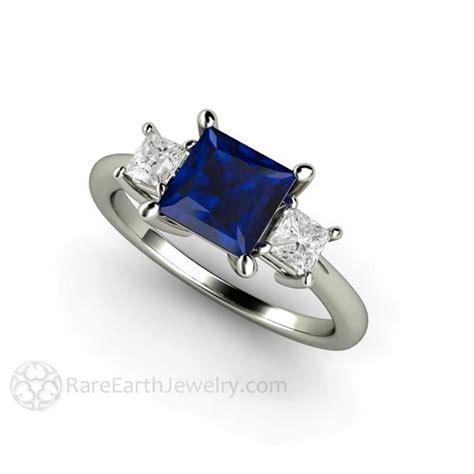 3 princess cut blue sapphire engagement ring