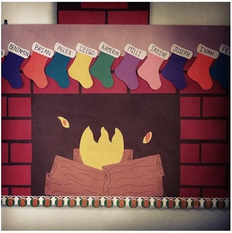 christmas fireplace bulletin board bulletin board and
