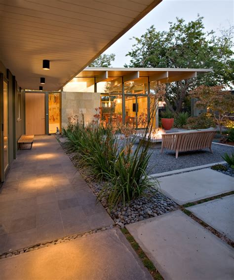 backyard designers yard patio midcentury with outdoor square fire pit