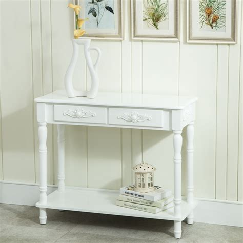 shabby chic entry table white distressed console table wood buffet entry