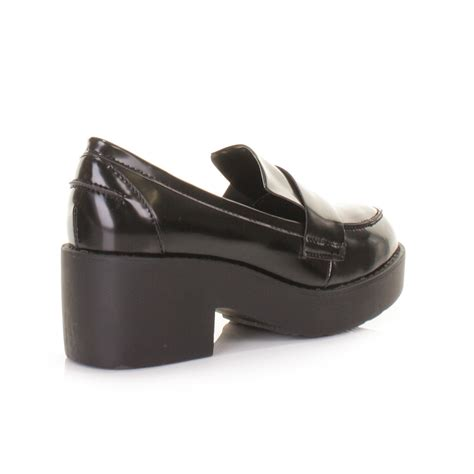 chunky loafers womens womens black chunky platform loafer flat shoes