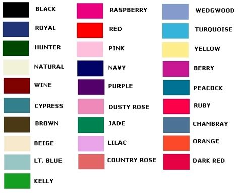 All The Colours color chart