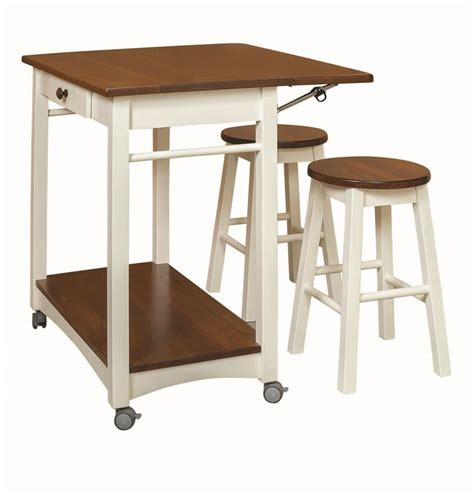 Island Stools Amish Guest Server Kitchen Island With Two Bar Stools