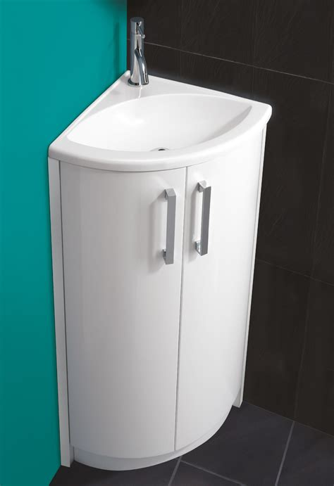 Corner Vanity Unit And Basin by Hib White Corner Vanity Unit And Basin 625 X 820mm