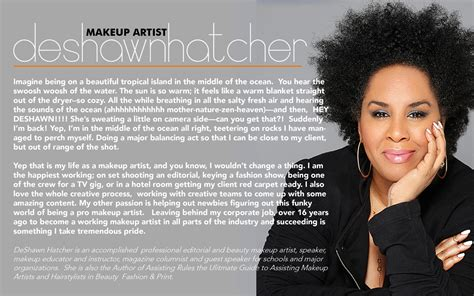 makeup artist bio template deshawn hatcher makeup artist bio