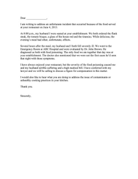 Complaint Letter About Quality Of Food Food Poisoning Complaint Letter