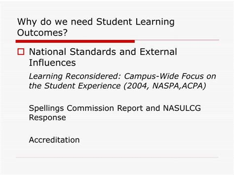 why do students need to ppt learning outcomes workshop powerpoint presentation id 1485002