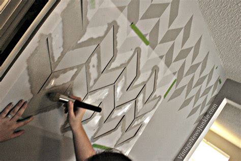 wall paint patterns how to paint a wall using a stencil herringbone pattern
