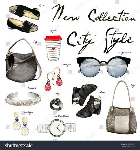 fashion illustration accessories watercolor fashion illustration set trendy accessories stock illustration 400164373