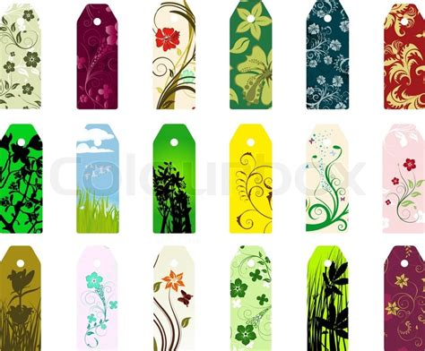layout bookmark set of different vector floral bookmarks for design use