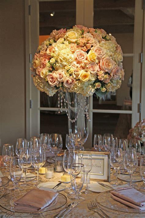 Blush Ivory Gold Tall Wedding Reception Centerpiece Gold Centerpieces Wedding Reception