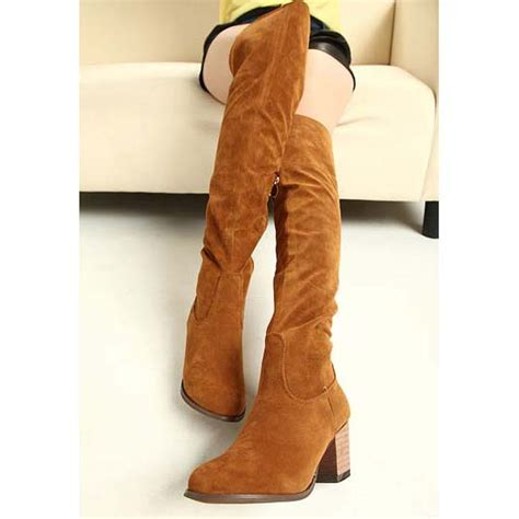 brown suede thigh high boots cr boot