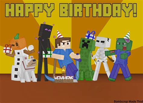 How To Make A Minecraft Birthday Card Minecraft Birthday Card Picture By Bombcrop On Deviantart