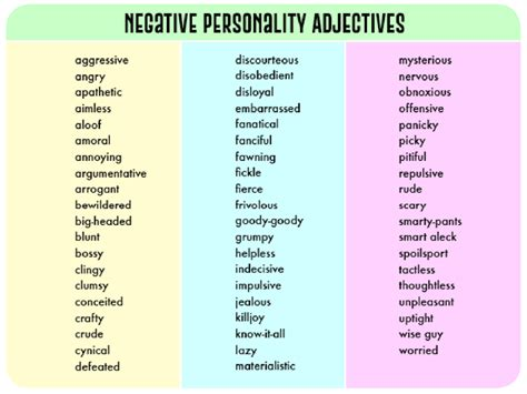 adjective list negative personality adjectives