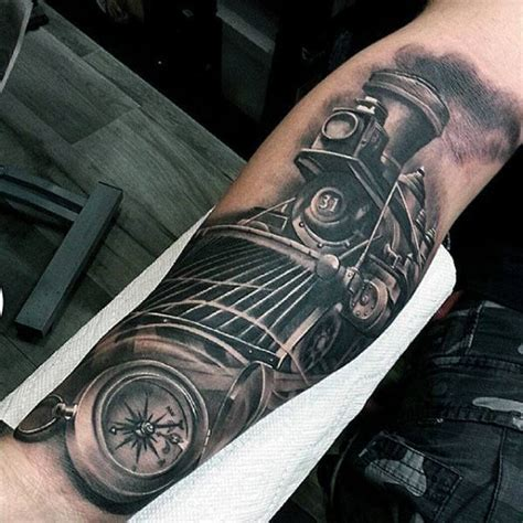 70 train tattoos for men masculine railroad designs