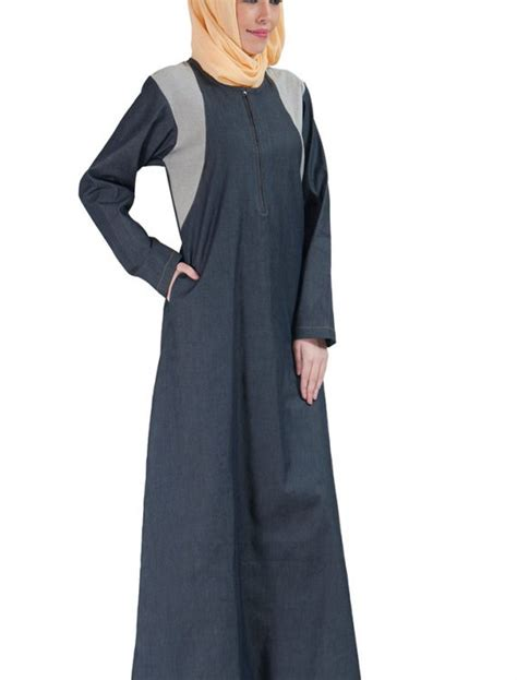 Jilbab Hoodie Zipper zipper front basic denim abaya blue shop at discount price