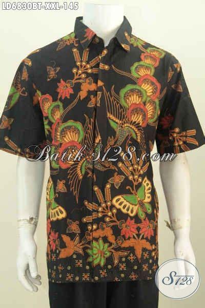 Hem Batik Katun Terbaru Burung Hitam Kemeja Jumbo Big B60717007 hem batik jumbo 3l pakaian batik lengan pendek halus dasar hitam nan elegan bahan adem motif