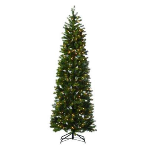 martha stewart living 7 ft indoor pre lit led downswept douglas fir slim artificial