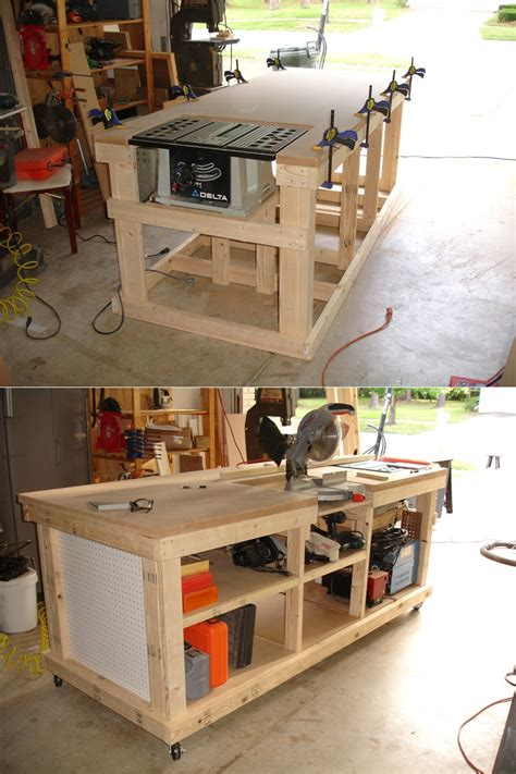 table saw work bench diy ultimate workbench table saw and outfeed chop saw well router table