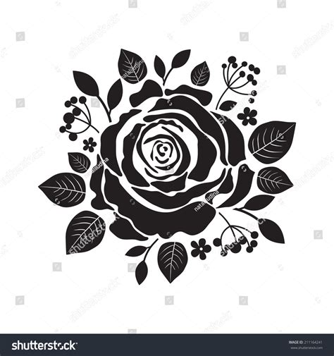 vector stencil roses black silhouette rose stock vector