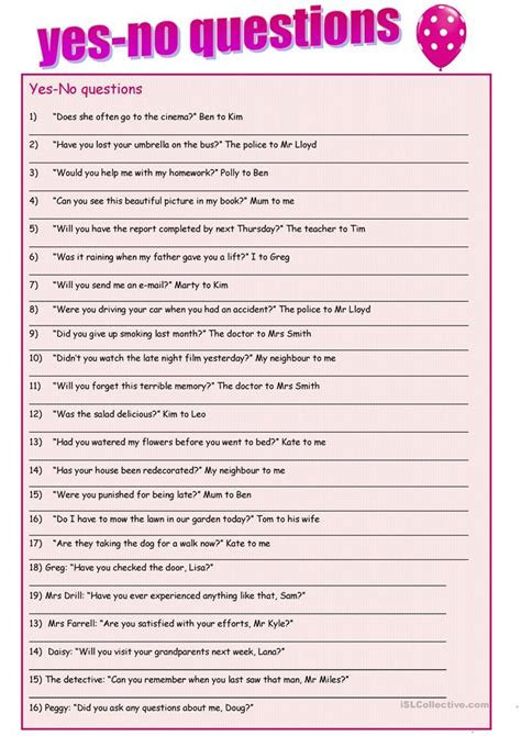 Or Yes Or No Questions Yes No Questions Reported Speech Worksheet Free Esl Printable Worksheets Made By Teachers