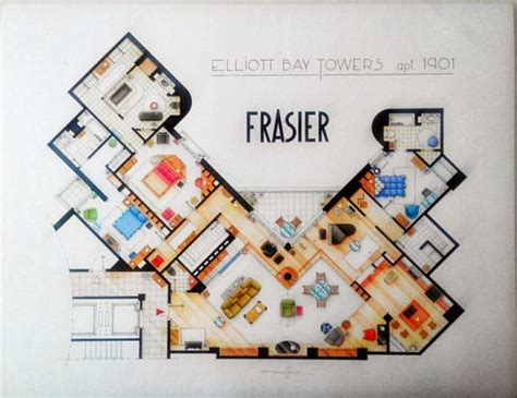 frasier crane apartment floor plan just a girl from brooklyn famous floorplans