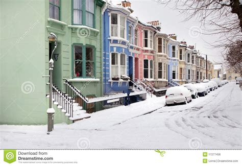 Historic Victorian House Plans by House Street England Snow Winter Royalty Free Stock Image