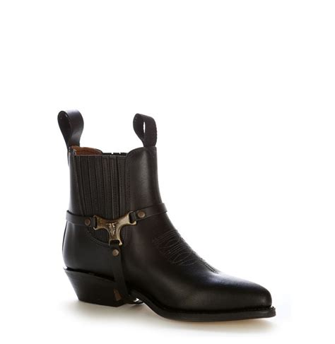 leather black ankle boots with buffalo buckle cowboy