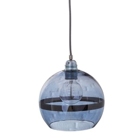 Blue Light Fixtures Globe Shaped Ceiling Pendant Light In Transparent Blue Glass