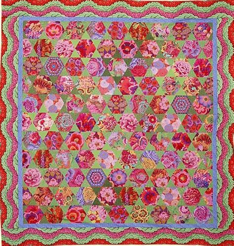 Kaffe Fassett Patchwork Kits - mediterranean hexagons quilt from quilts in morocco by