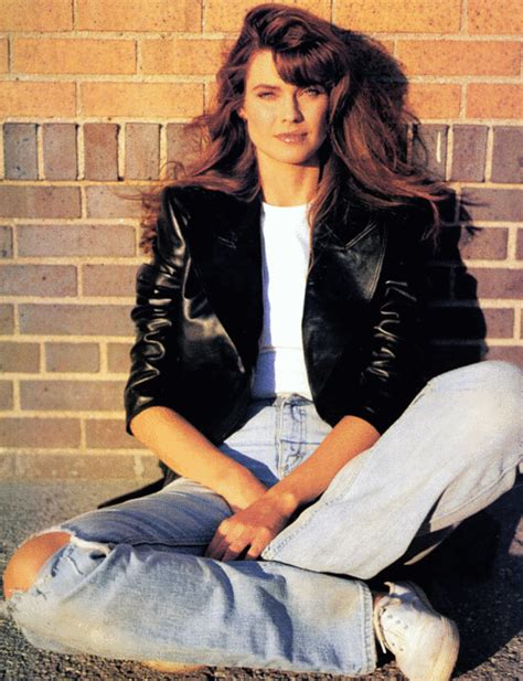 8o s eighties fashion leather jacket and ripped jeans model