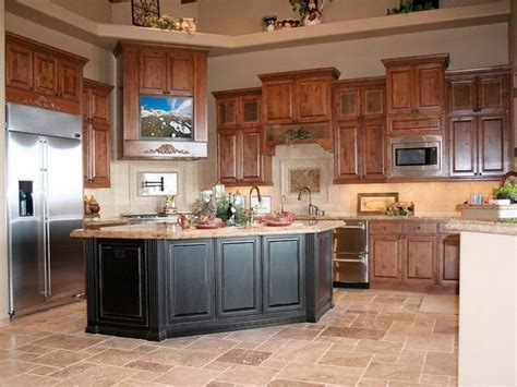 oak kitchen cabinets ideas best kitchen color ideas with oak cabinets black island