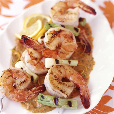 Recipe Shrimp And Scallion Skewers With Creamy Grilled Pepper Sauce | weightwatchers com weight watchers recipe shrimp and