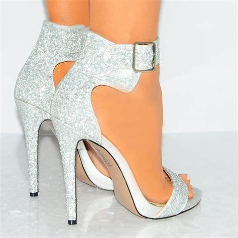 Gliter Heels womens silvver glitter strappy sandals high heels shoes