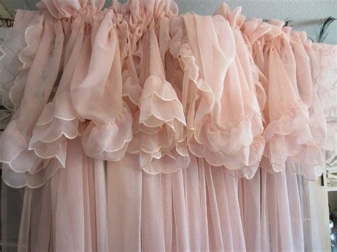 Pale Pink Curtains Vintage Pale Pink Curtains Shabby Chic Feminine