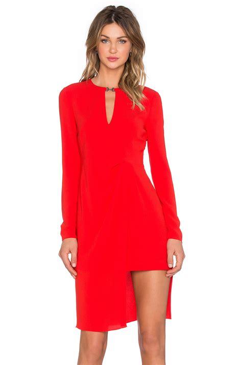 long sleeve drape dress halston front drape long sleeve dress in red lyst